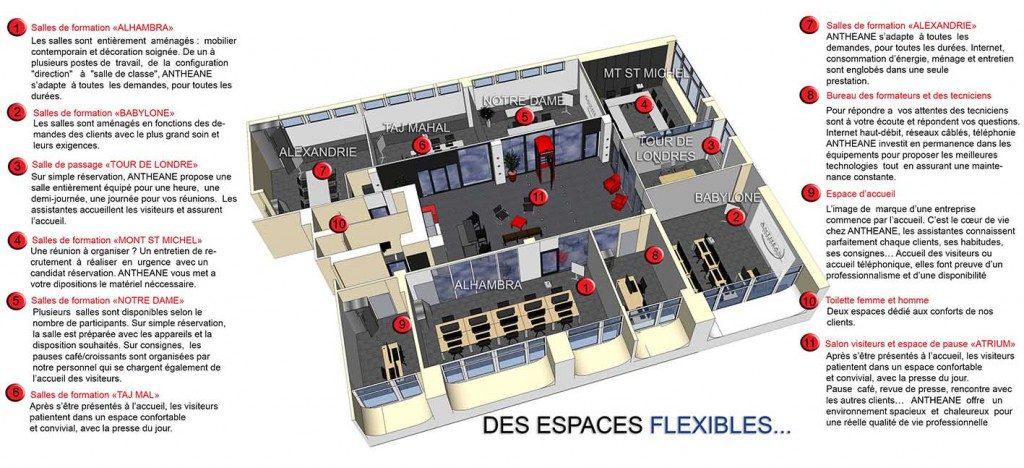 Plan des salles de formation - Anthéane, location de salles informatique à Lyon